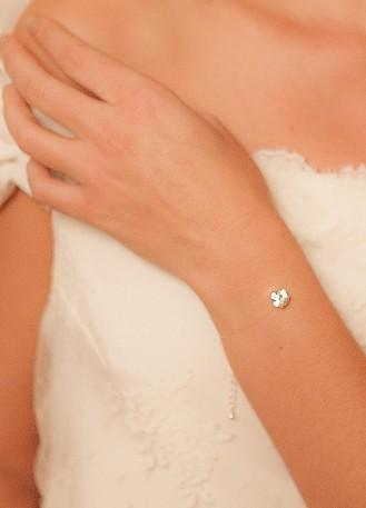 """Bracelet mariage """"Cristal"""" avec cabochon de cristal"""