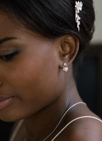 """Boucles d'oreilles mariée """"Charlotte"""" avec perles et strass"""
