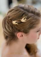 """Bijoux de tête mariée """"Hirondelles"""" avec jolis oiseaux en laiton"""