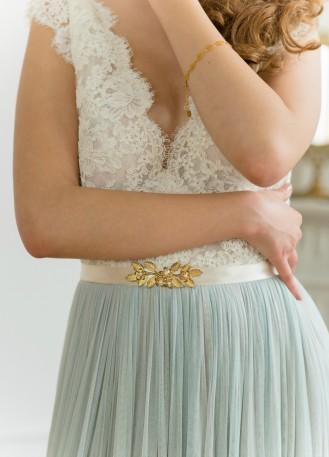 """Ceinture mariée bohème """"Colette"""" avec fleurs et perles"""