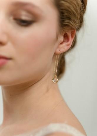 """Boucles d'oreilles mariée """"Bonnie"""" pendantes avec sertis moderne"""