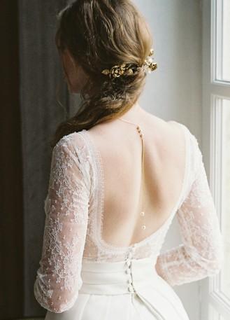 """Emilia"" Collier de mariée perlé avec bijou robe dos nu"