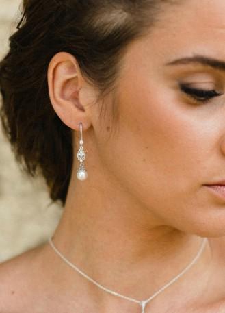 """Boucles d'oreilles mariée """"Clélie"""" pendantes avec perles"""