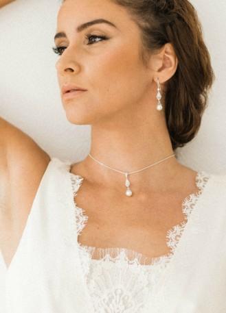 """""""Clélie"""" collier de mariée avec pendentif perle"""