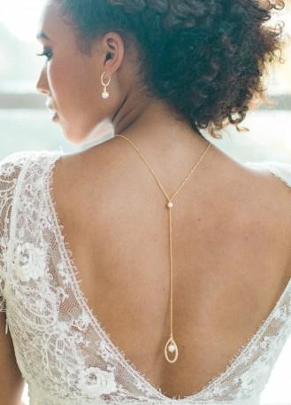 """""""Emma"""" collier de mariée pour robe dos décolleté avec perle"""