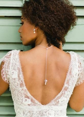 """Bijou de dos """"Inès"""" pour votre collier de mariée"""