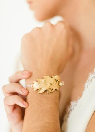 "Bracelet mariage ""Inaya"" manchette rigide travaillée"