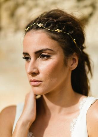 """Headband mariée bohème """"Meloe"""" avec fleurs et cristaux"""