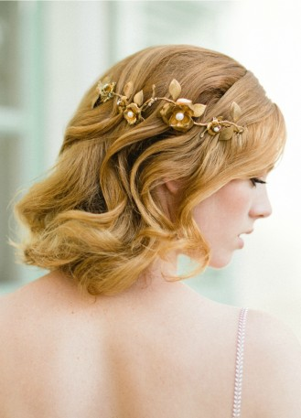 """Demi-couronne mariage """"Rose"""" avec fleurs et perles d'eau douce"""