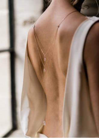 """""""Sixtine"""" Collier de mariée avec pendentif et dos en cristal"""