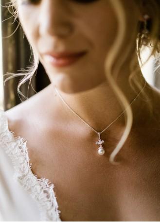 """""""Mila"""" collier de mariée avec pendentif rétro et perle"""