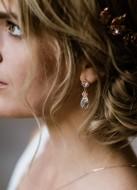 """Boucles d'oreilles mariée """"Elizabeth"""" avec gouttes de cristal"""