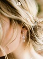 """Boucles d'oreilles mariée """"Mila"""" pendantes avec perles"""