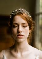"""Couronne diadème mariage """"Iseult"""" avec feuillages et cristaux Swarovski"""