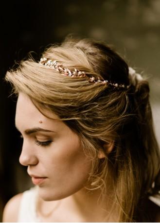 """Headband rétro """"Eden"""" avec feuillages finition dorée rose"""