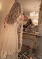 """""""Louise"""" Voile de mariée rétro en tulle de soie et dentelle brodée de perles"""
