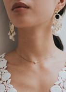"""Lana"" collier de mariée avec pendentif serti fin et discret"
