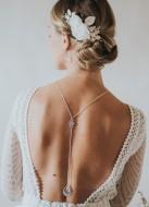 """""""Romane"""" Collier de mariée avec bijou art déco robe dos nu"""