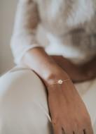 """Bracelet mariage """"Emilie"""" simple avec perle nacrée"""