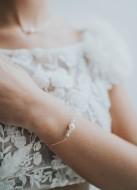 """Bracelet mariage """"Célestine"""" avec perles nacrées et cristal"""