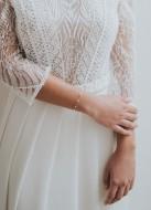 """Bracelet mariage """"Alba"""" avec chaine tendance perlée"""