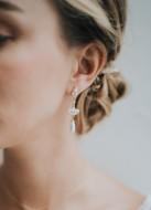 """Boucles d'oreilles mariée """"Théodora"""" avec attaches et sertis art déco"""