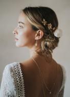 """Boucles d'oreilles mariée pendantes """"Léana"""" avec perles nacrées"""