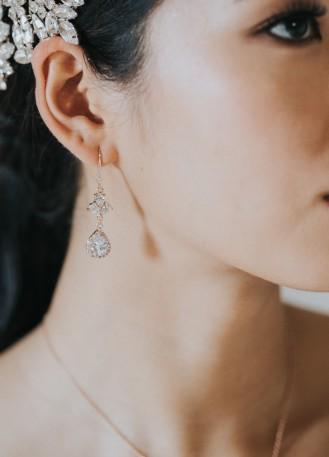 """Boucles d'oreilles mariée """"Victoire"""" pendantes au charme rétro"""