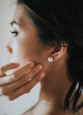 """Boucles d'oreilles mariée """"Paola"""" simple clou perles"""