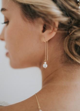 """Boucles d'oreilles mariée """"Alba"""" pendantes avec perles"""