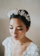 """Couronne diadème mariage """"Zélie"""" avec feuillages et cristaux"""