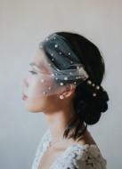 Voilette de mariée rétro bandeau en tulle avec perles