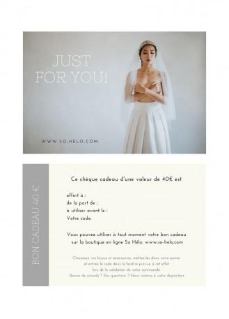Bon cadeau bijou et accessoire mariage valeur 40 euros