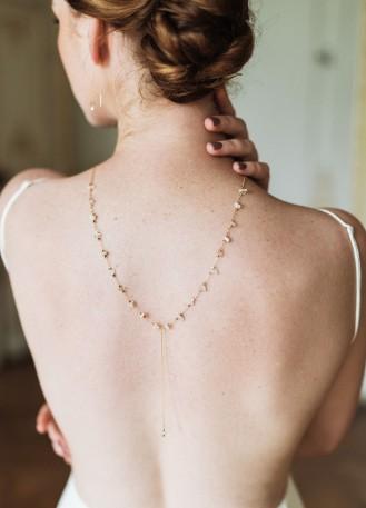 """""""Isya"""" collier de mariée tendance avec quartz pour robe dos nu"""