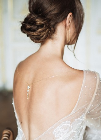 """Jane"" Bijou de dos amovible avec strass pour robe dos nu"