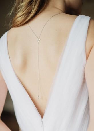 """""""Ombeline"""" collier de mariée pour robe dos décolleté avec perles"""