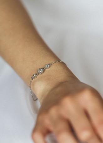 """Bracelet mariage """"Mathilde"""" avec petits sertis ronds rétro"""