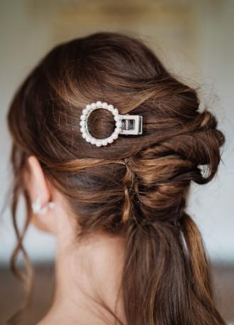 """Pince cheveux mariée moderne """"Aimeline"""" avec perles"""