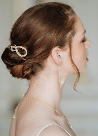 """Pince cheveux mariée moderne """"Jude"""" avec perles et cristaux"""