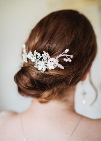 """Peigne de mariée """"Anastasia"""" avec estampes végétales et cristaux"""