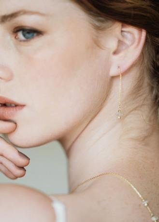 """Boucles d'oreilles mariée """"Ysia"""" pendantes avec quartz"""