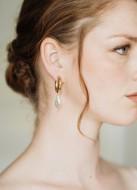 """Boucles d'oreilles mariée """"Masha"""" créoles avec perles d'eau douce"""