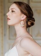 """Boucles d'oreilles mariée """"Anja"""" créoles avec perles d'eau douce"""