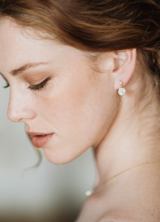 """Boucles d'oreilles mariée """"Cléophée"""" avec perles d'eau douce"""