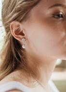 """Boucles d'oreilles mariée """"Margaret"""" avec attaches rétros et perles nacrées"""