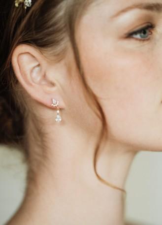 """Boucles d'oreilles mariée """"Diana"""" petite et discrète"""