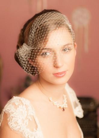 """""""Emma"""" Voilette de mariée rétro, birdcage avec cristaux"""