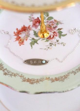 Bracelet témoin mariage ou séance engagement avec initiales