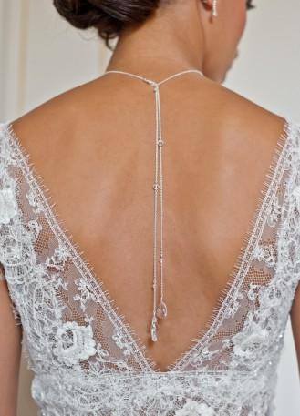 """Louna"" Collier de mariée avec long bijou robe dos nu"