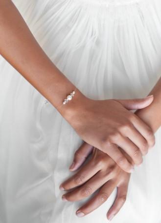 """Bracelet mariage """"Innocence"""" avec perles nacrées et cristal"""